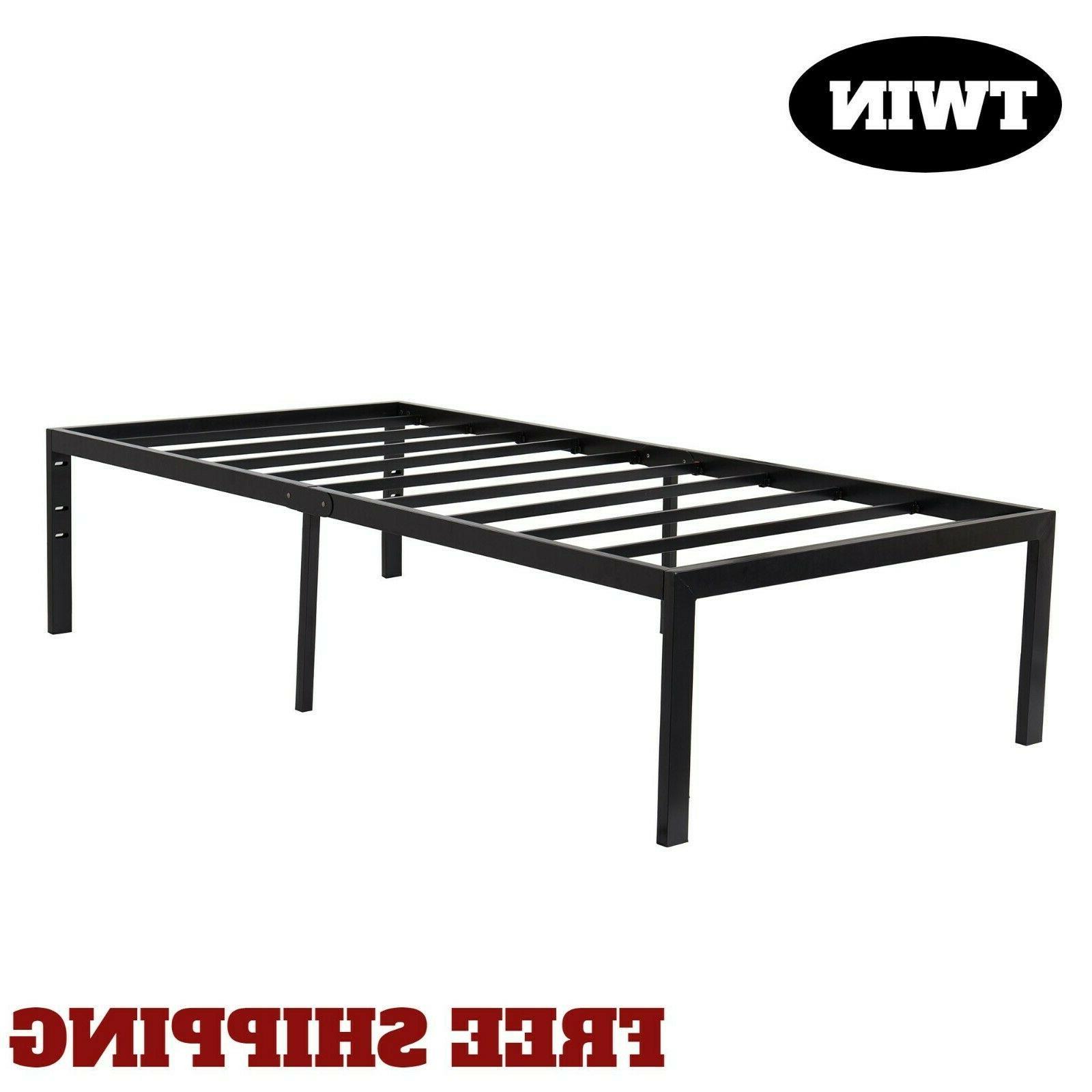 """18"""" Metal Bed Frame Platform Foundation Steel Black Non-Slip"""