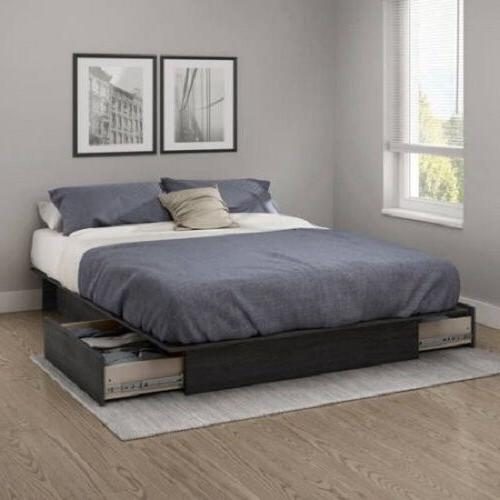 4 Grey Storage Platform Bed