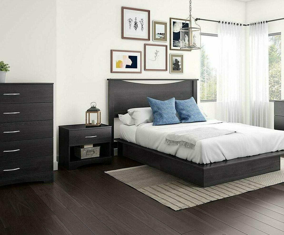 4 piece queen grey storage platform bed