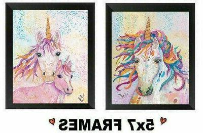 5x7 unicorn pictures rainbow colored bed