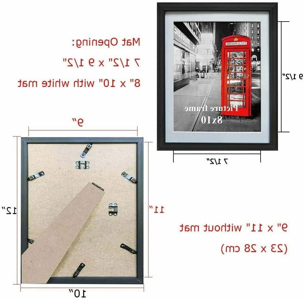 8x10 Black Picture Frames with Mat or Decoration, Set 6