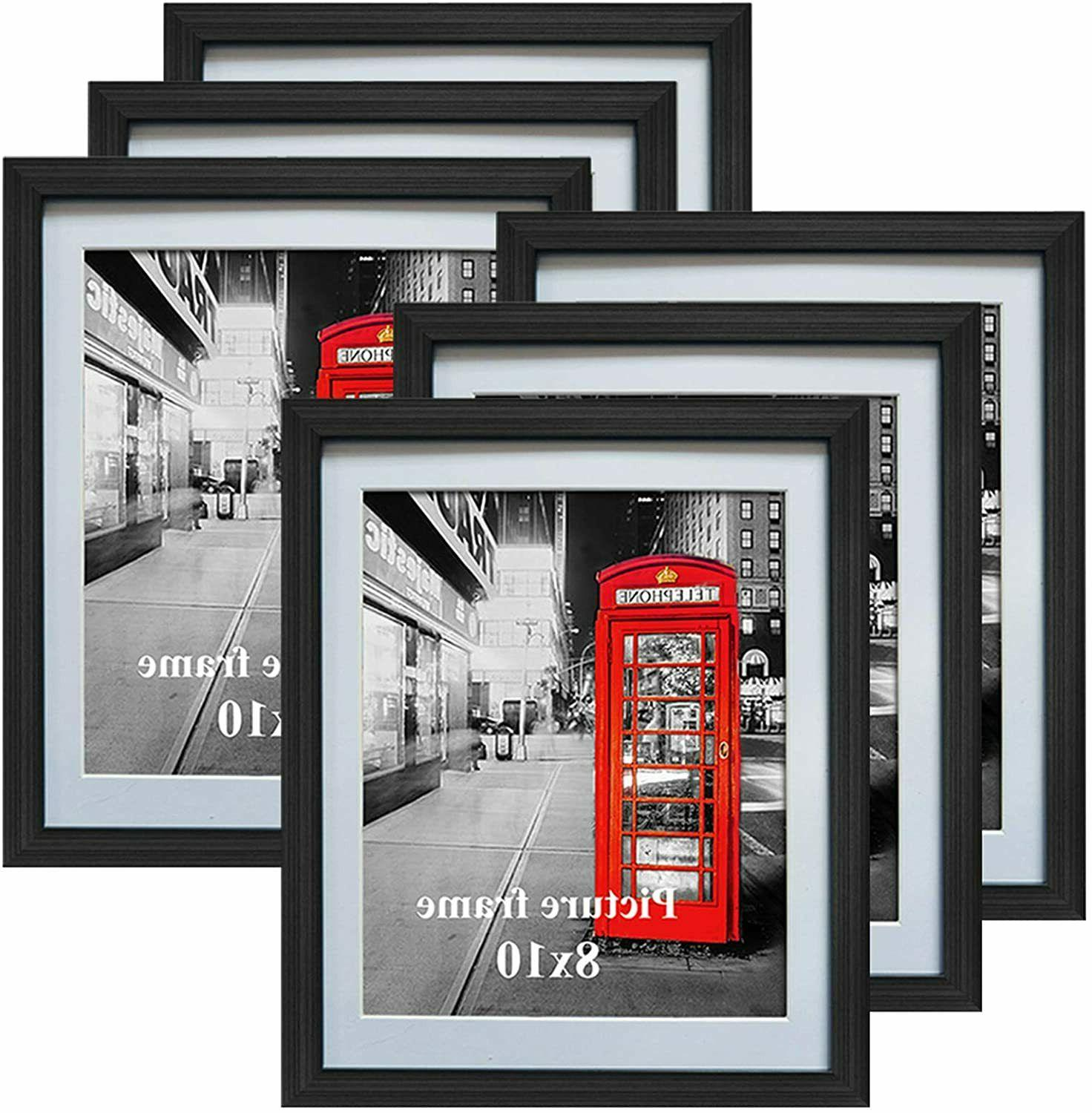 8x10 black picture frames with mat