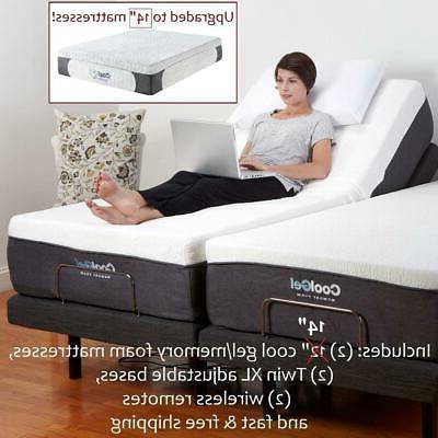 """Adjustable SPLIT KING Electric Bed Frame Bases AND 12"""" MATTR"""