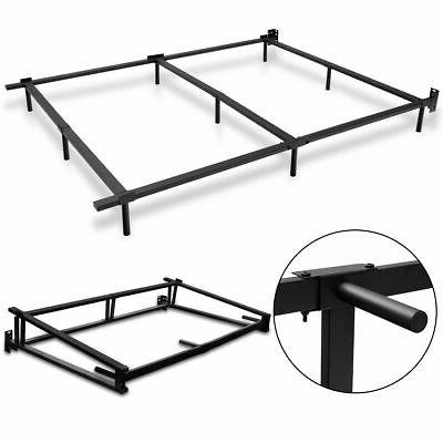 Black Folding Heavy Duty Metal Bed Frame Center Support Bedr