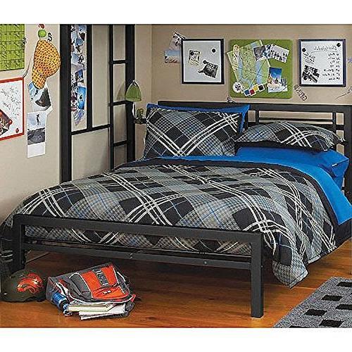 Black Full Size Metal Bed Platform Frame, Gre