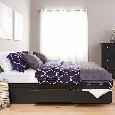 Black King Mate's Platform Storage Bed with 6 Drawers