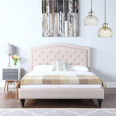 Classic Bedroom Bed Frame, Box-Tufted Fabric Bedframe Headbo
