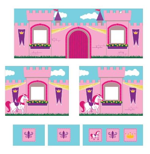 DHP Curtain Set for Junior Loft Bed with Princess Castle Des