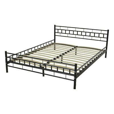 Durable Queen Size Wood Slats Bed Frame Platform Headboard F