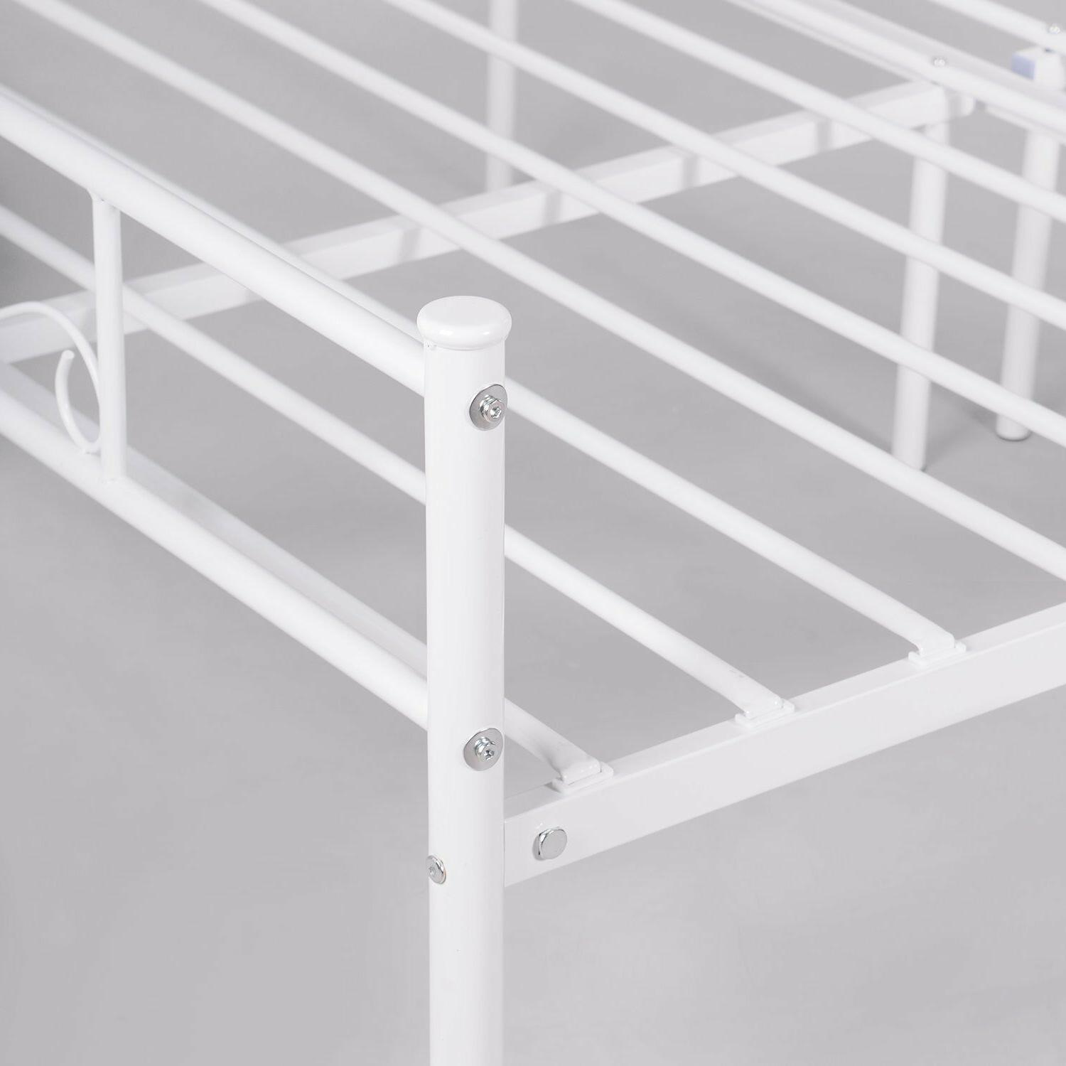 Full Size Frame Mattress Foundation with Headboard White