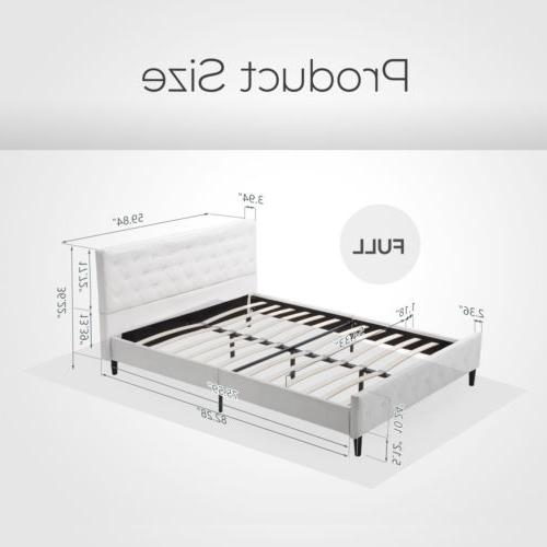 Full Size Metal Bed Button Tufted Mattress White