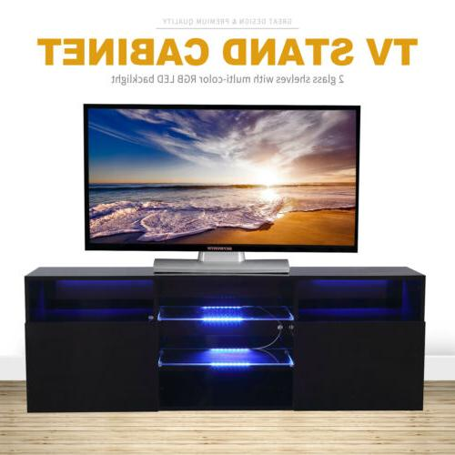 High Gloss Balck TV Stand Unit with 2 Doors Console RC