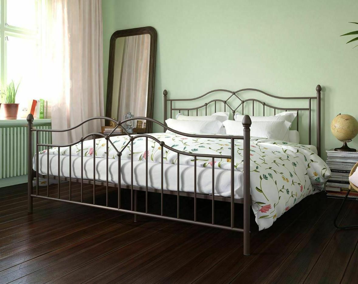 King Size Bed Frame Platform Metal Headboard Footboard Set K