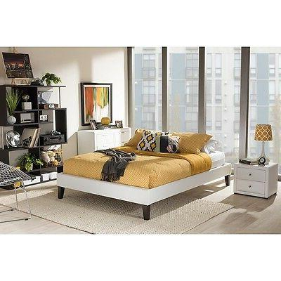 Lancashire White Faux Leather Upholstered King Bed Frame W//Tapered Legs NEW