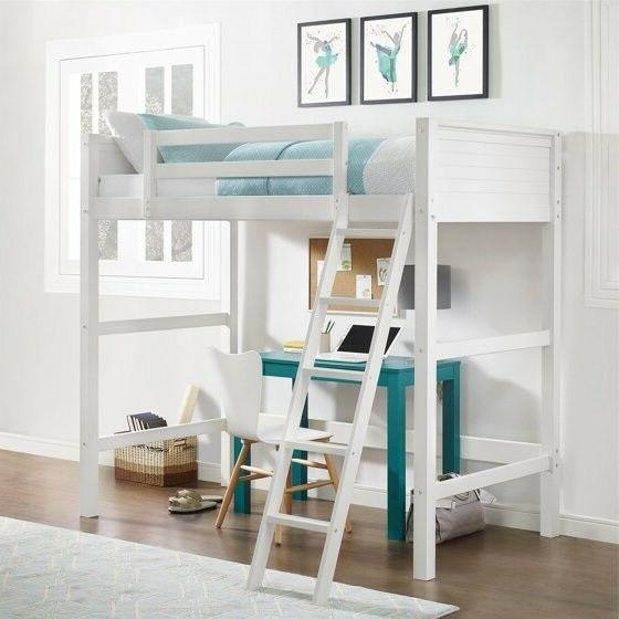 Loft Bed Frame For Kids Teens Girls Boys Twin Size Wood Loft