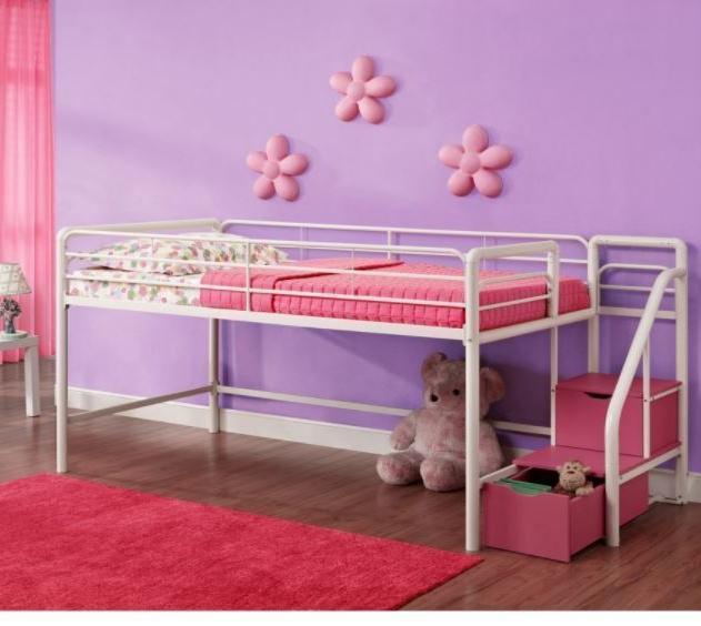 Loft Bed Low Step Kid Bunk Girls Princess