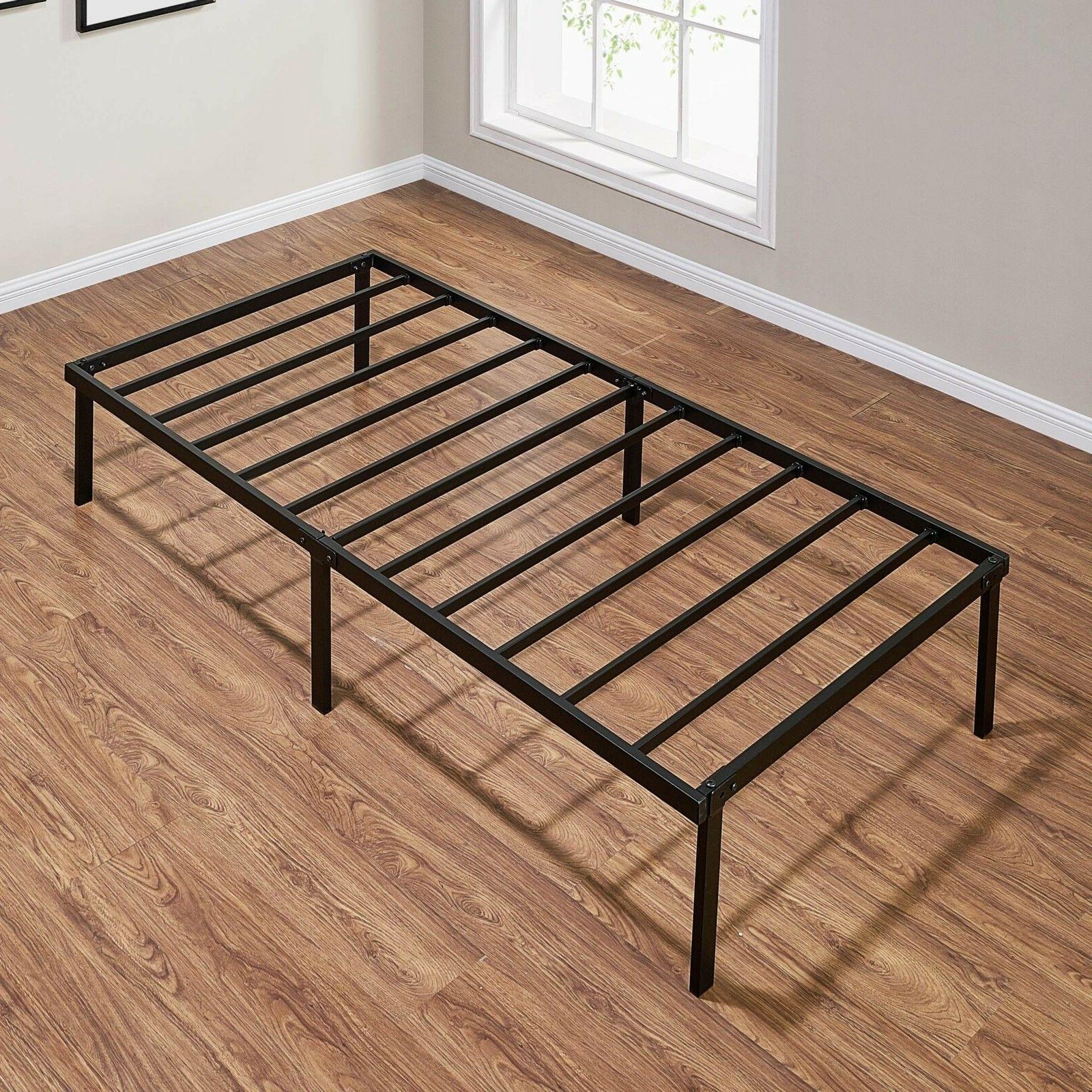 """Mainstays 14"""" Heavy Duty Slat Bed Frame, Black Steel"""