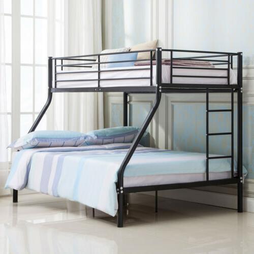 Metal Twin over Full Bunk Beds Frame Ladder Kids Teens Adult
