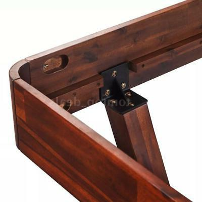 "Modern Bed Acacia Wood King 76"" Furniture O0H0"