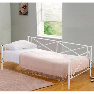 New Twin Size Contemporary  White  Metal Day Bed Frame with