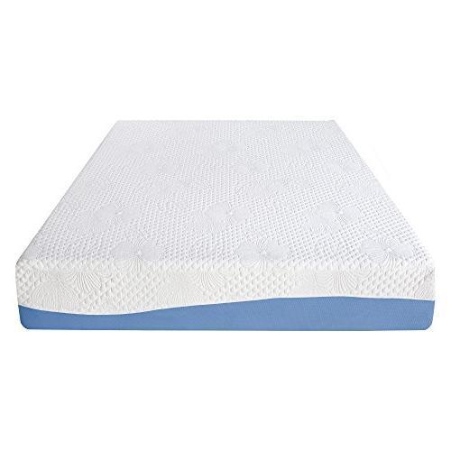 Olee 10 Gel Top Memory Foam Mattress Blue, Queen