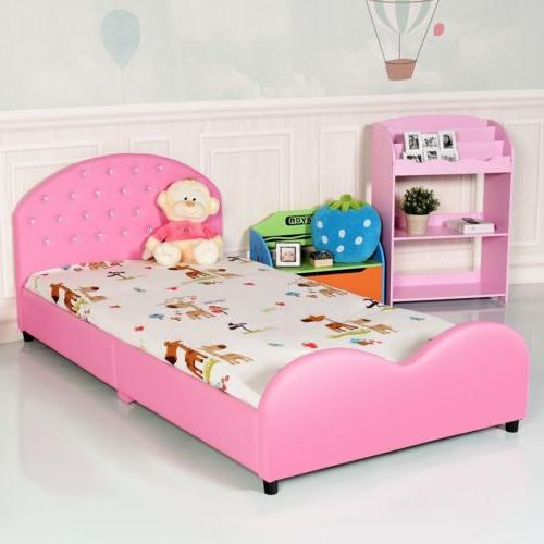Pink Upholstered Bed Frame Girls Princess Bedroom Platform F