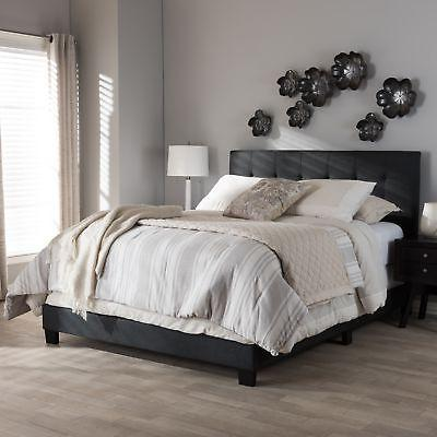 Queen Size Bed Frame Platform Bedroom Charcoal Grey Upholste