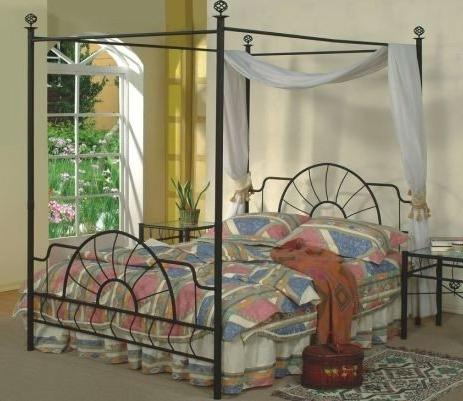 Queen Size Black Finish Canopy Metal Bed Headboard and Footb