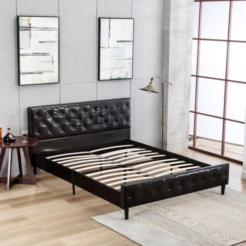 Queen Size Leather Bed Tufted Metal