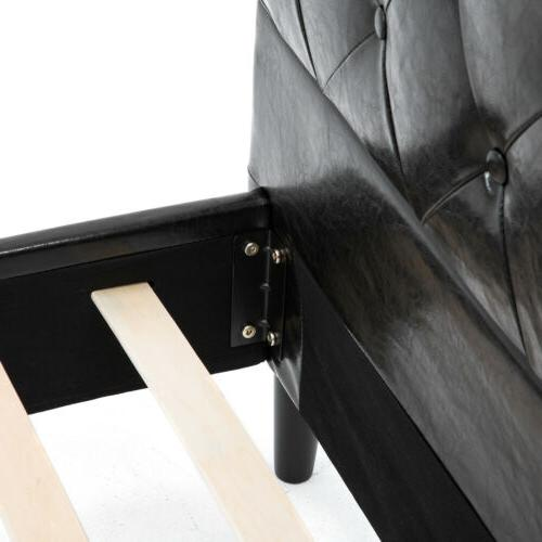 Queen Size Leather Frame Tufted Metal Platform
