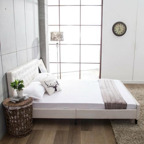 Queen Size Frame Metal Platform Button Headboard Home Bedroom