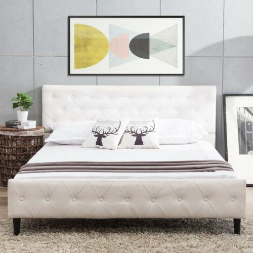 Queen Metal Bed Tufted Upholstered Platform White