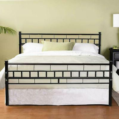 Queen Style Iron Bed Frame Wood Slats Headboard Footboard Fu