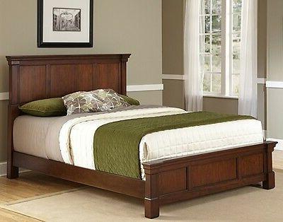 rustic cherry queen size beds headboard footboard
