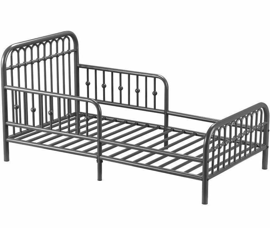Toddler Bed Frame Rail Base Vintage Metal Kids Gray