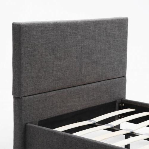 Twin Platform Frame Upholstered Gray Linen Headboard Wood