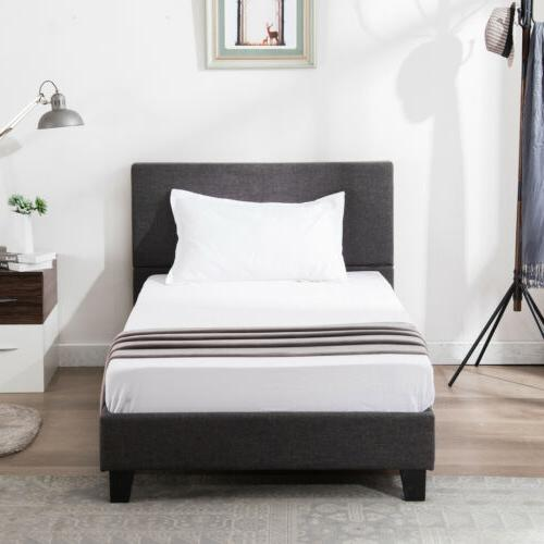 Twin Size Platform Bed Frame Gray Linen Headboard with Wood