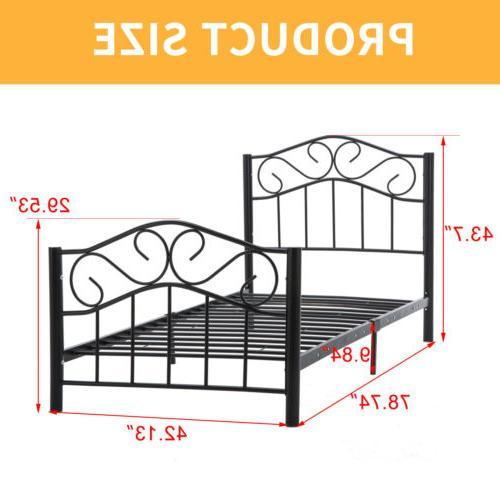 Twin Size Metal Bed Frame w/Headboard Footboard Bedroom