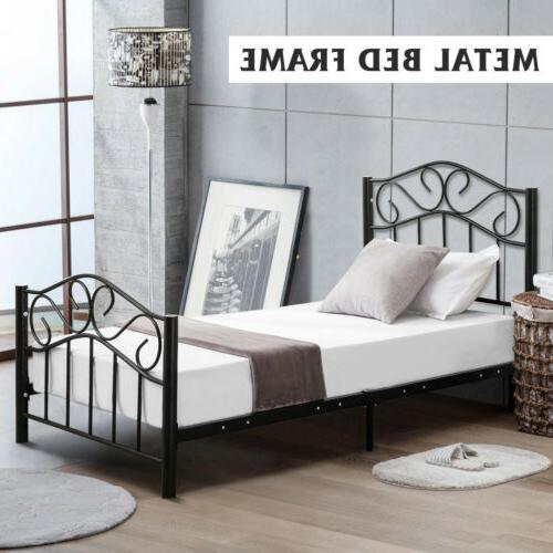 Twin Size Steel Metal Heavy Duty Bed Frame Headboard Footboa