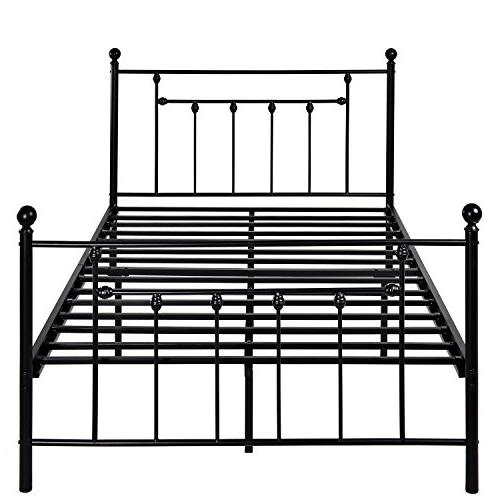 VECELO Size Bed Frame, Metal Mattress Foundation/Box Spring with Headboard Victorian