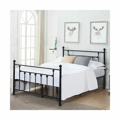 official photos b0581 5c20a VECELO Queen Size Bed Frame, Metal Platform Mattress Foundation/Box Spring  Replacement with Headboard Victorian Style
