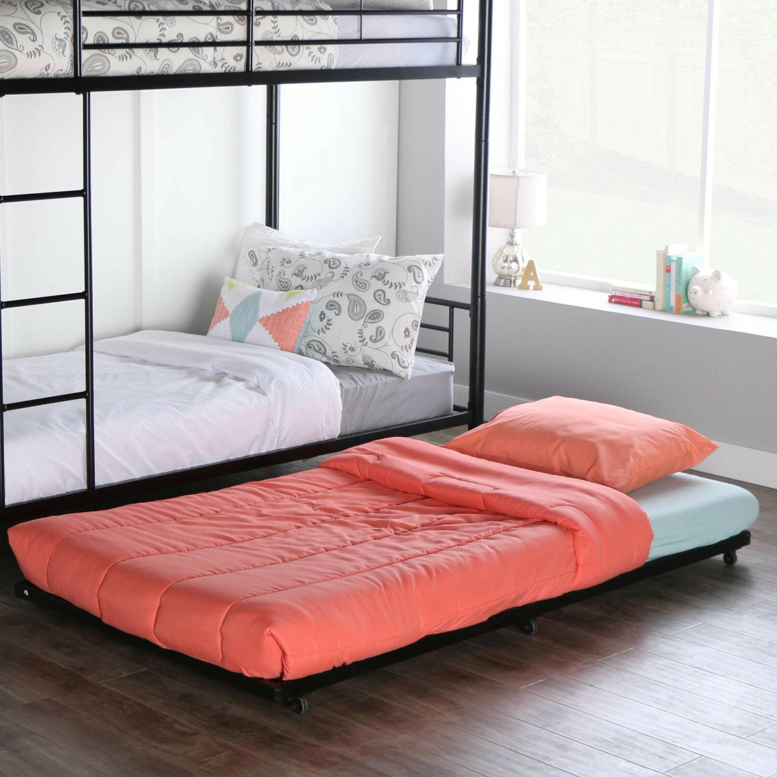 Walker Edison Twin Roll Out Trundle Bed Frame Black