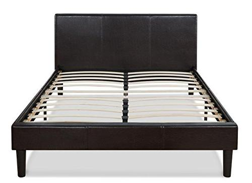 Zinus Faux Leather Upholstered Platform Bed with Wooden Slat
