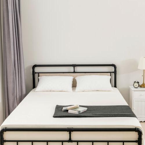 Queen Size Metal Bed Frame Mattress Bedroom Black