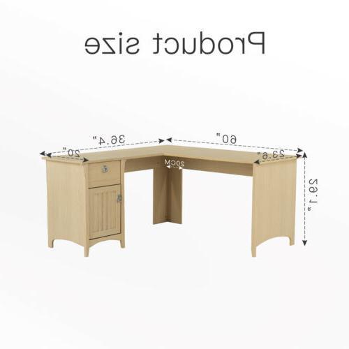 Corner L-Shaped Desk Table Workstation Office Antique