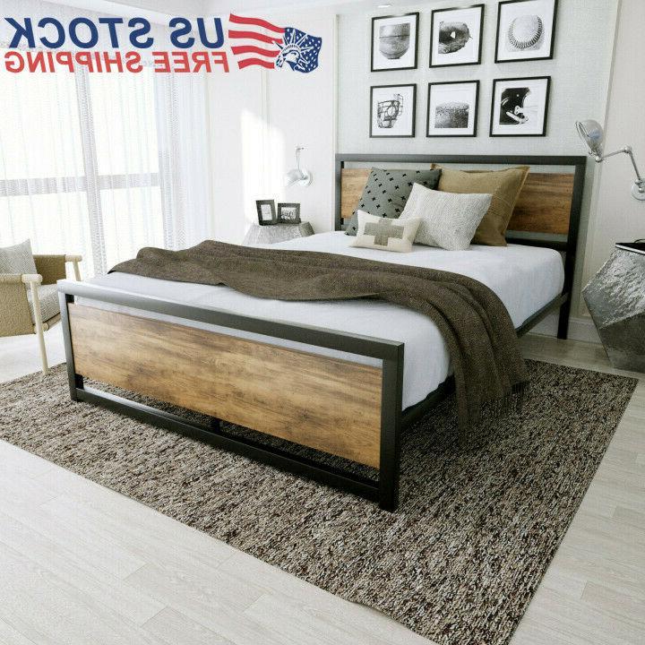 bed frame metal platform w rustic wood