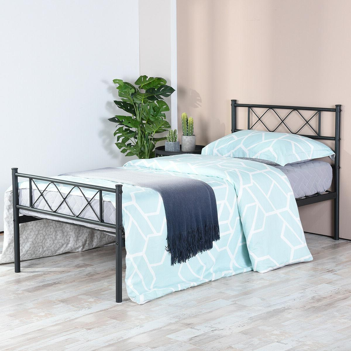 Platform Bed Frame Foundation Headboard Twin