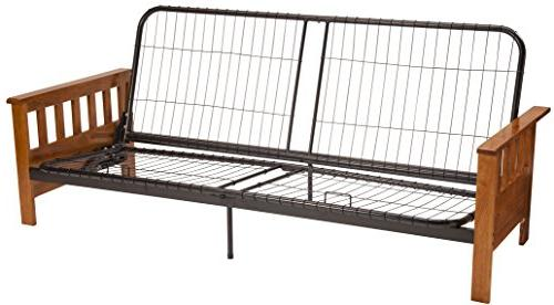 Berkeley Mission Style Futon Sofa Sleeper Bed Frame Queen Size Medium Oak Arm Finish