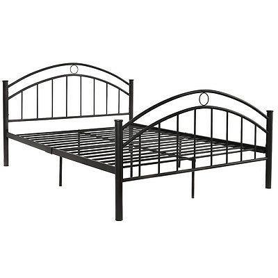 Costway Black Queen Size Metal Bed Platform Headboard Bedroom