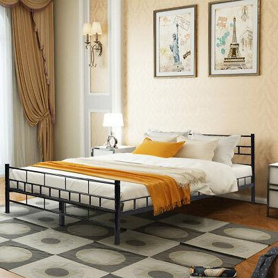 Queen Size Wood Bed Frame Footboard Furniture